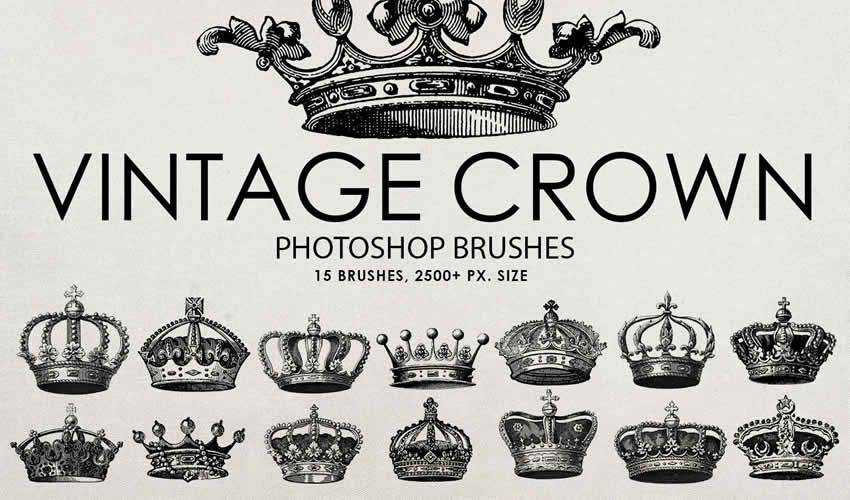 Crown vintage antique adobe photoshop ps brush brushes abr pack set free