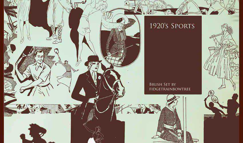 1920s Sport vintage antique adobe photoshop ps brush brushes abr pack set free