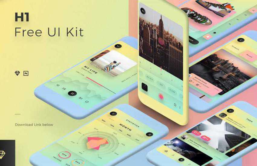 h1 sketch mobile app ui kit sketch ux format free design creative sketch.app