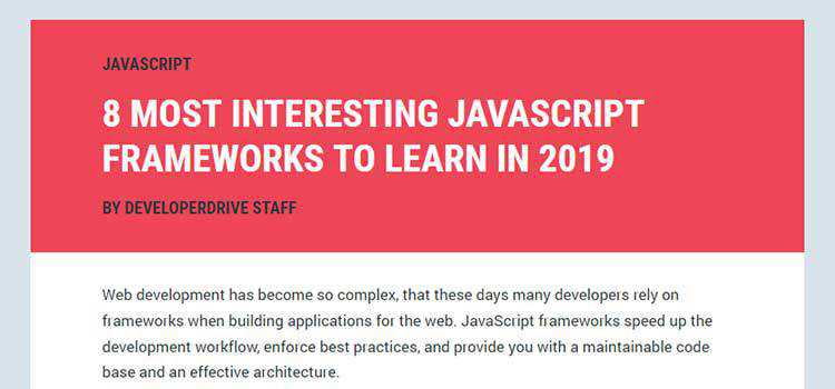 8 Most Interesting JavaScript Frameworks to Learn in 2019
