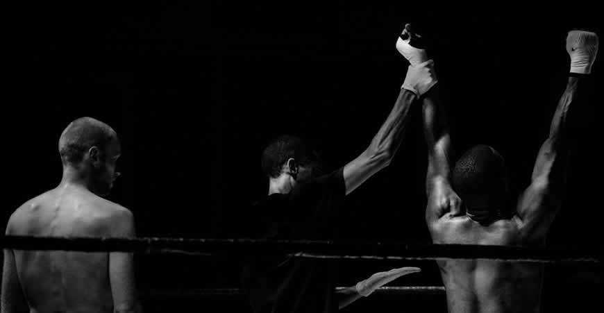 Boxer victory fight black white