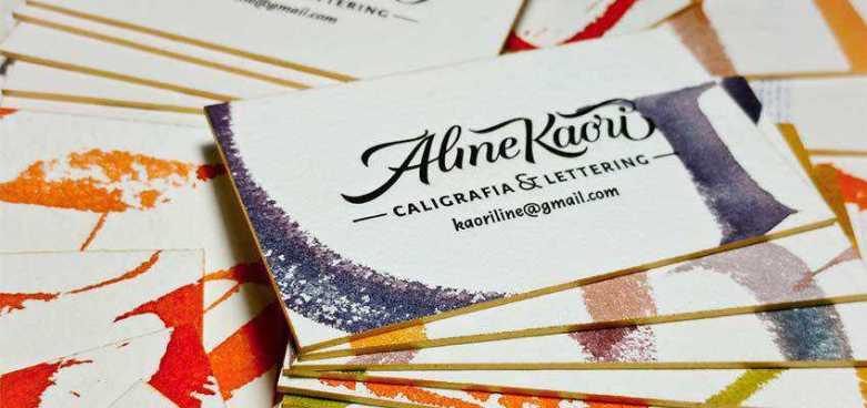 Letterpress & Calligraphy Business Cards by Aline Kaori