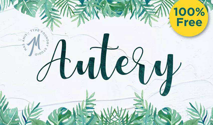 free font calligraphy typography script Autery Script