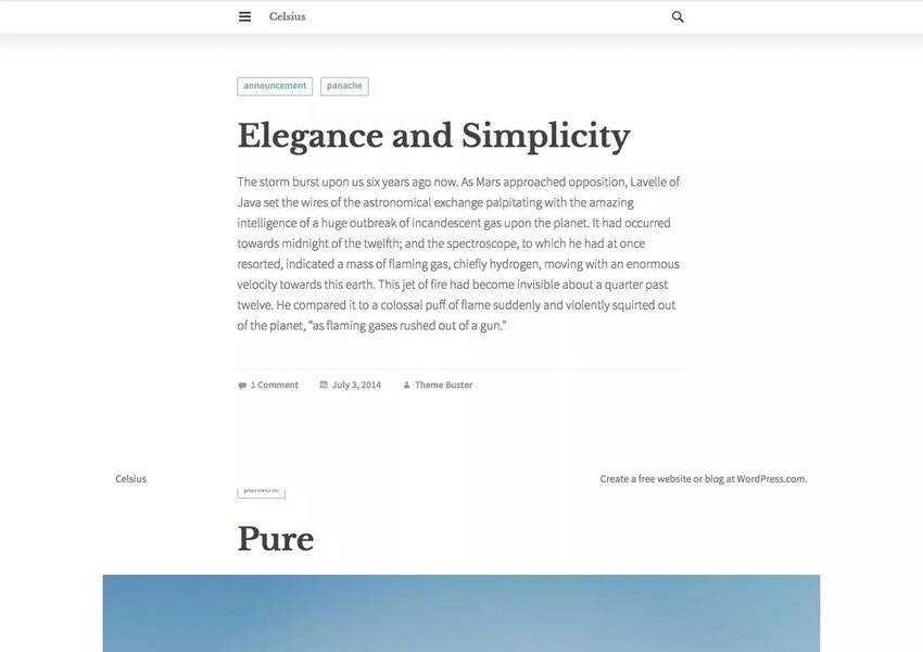 Celsius free wordpress theme wp responsive template blog writer longform article