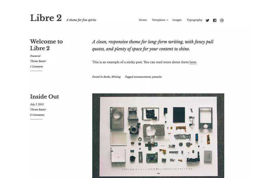 libre 2 writing free wordpress theme wp responsive template blog writer longform article