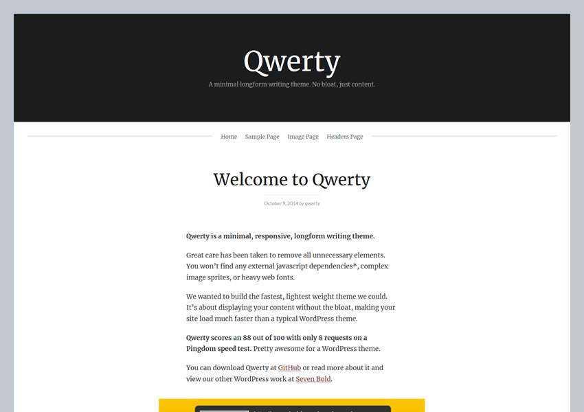 Qwerty Minimal free wordpress theme wp responsive template blog writer longform article
