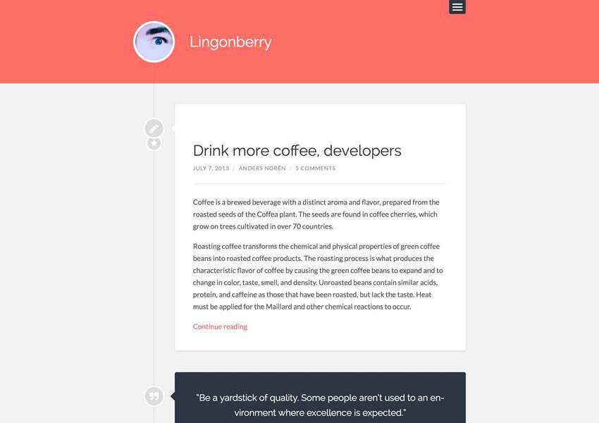 Lingonberry Simple free wordpress theme wp responsive template blog writer longform article
