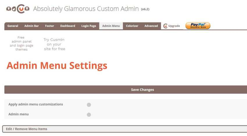 wordpress admin custom
