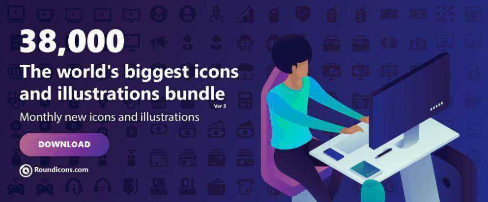 Round Icons Bundle – 38,000 icons and illustrations