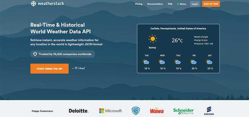 weatherstack REST API home page.