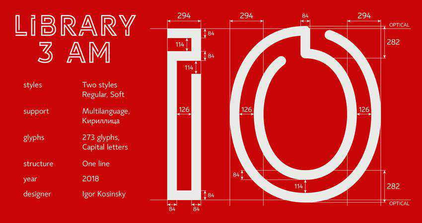 Library 3am - free outline font family