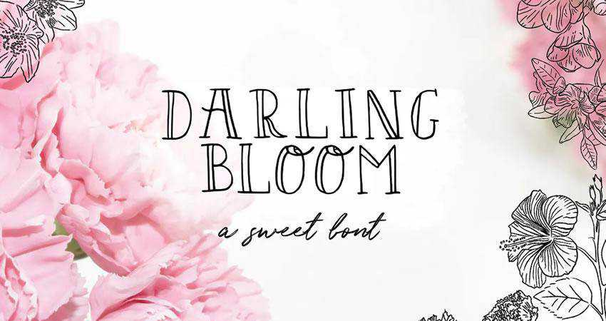 Darling Bloom - free outline font family