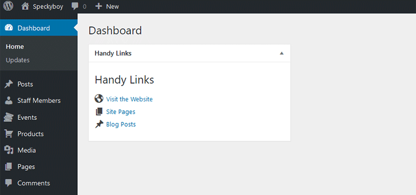 The Handy Links WordPress dashboard widget.