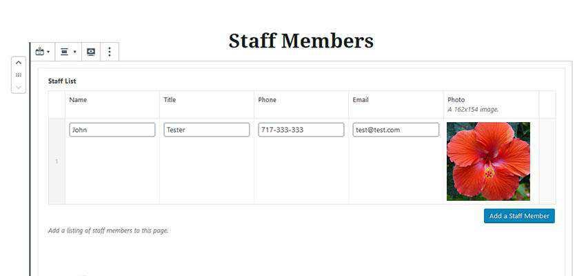 A Staff Members custom block for Gutenberg.