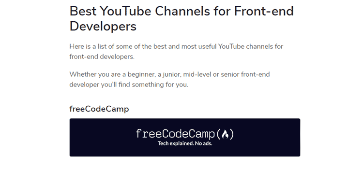 Example from Best YouTube Channels for Front-end Developers