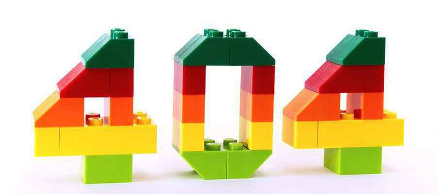 The number 404, built with toy blocks.