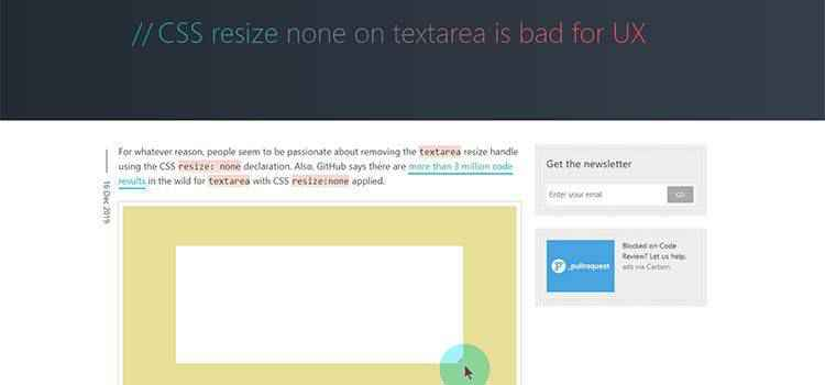 Example from CSS resize none on textarea is bad for UX