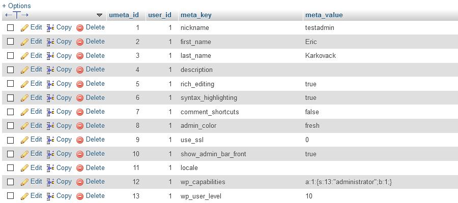 WordPress User Meta Table.