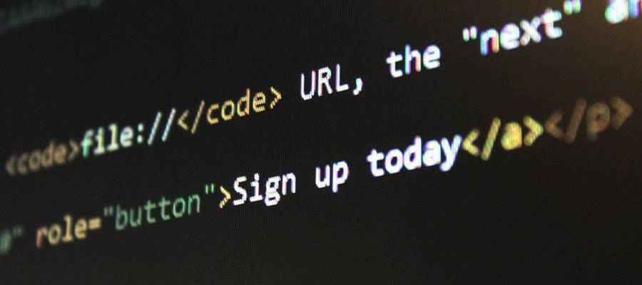 HTML Code on a screen.