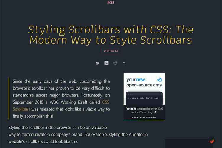 Example from Styling Scrollbars with CSS: The Modern Way to Style Scrollbars