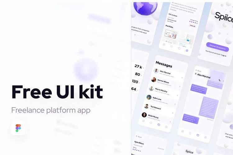 Example from Free UI Kit Freelance Platform App