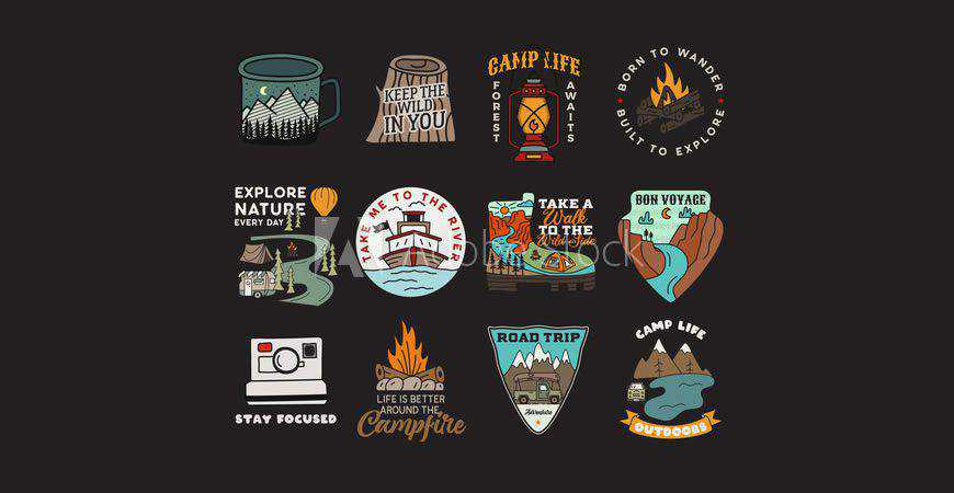 Vintage Badges logo creator kit template