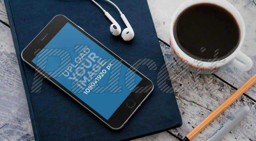 iPhone on a Book Photoshop PSD Mockup Template
