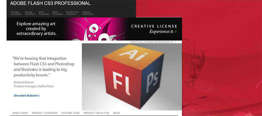 Adobe Flash CS3 Professional Home Page, Circa 2008
