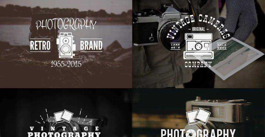 Retro Logo Badges Set photographer camera photography
