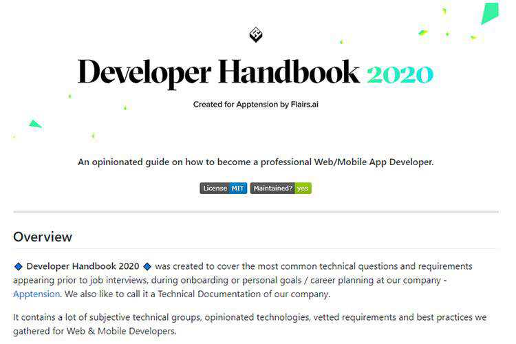 Example from Developer Handbook 2020