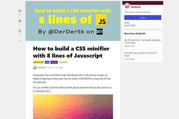 Example from How to build a CSS minifier with 8 lines of Javascript