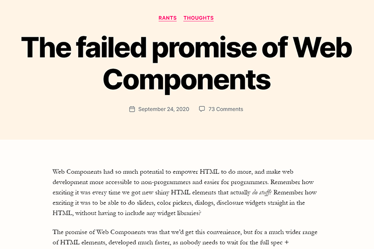 Example from The failed promise of Web Components