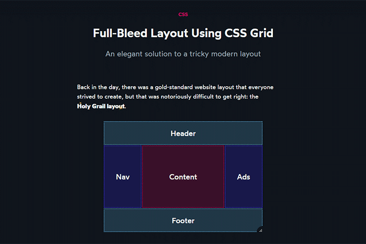 Example from Full-Bleed Layout Using CSS Grid