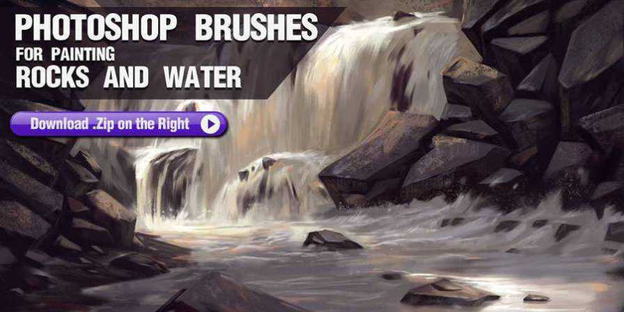 Photoshop Brushes for Painting Rocks and Water ABR