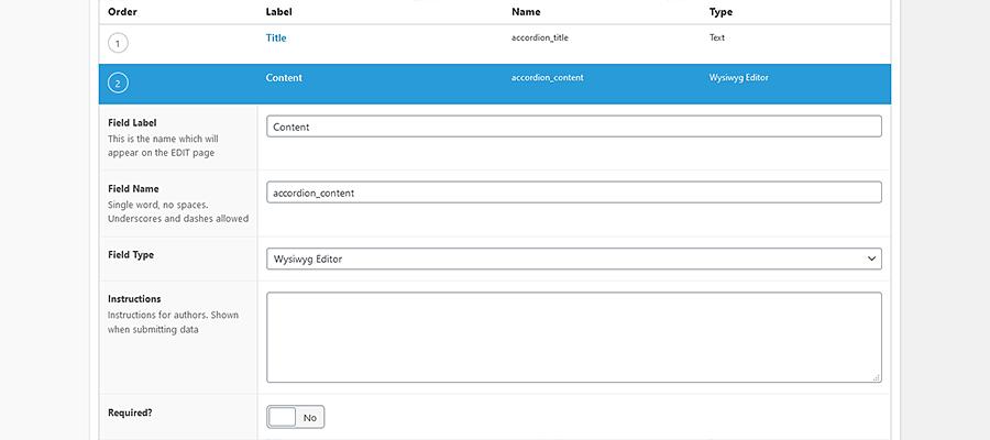 Advanced Custom Fields Editor Screen