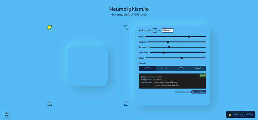 Neumorphism css web-based tool free web design example