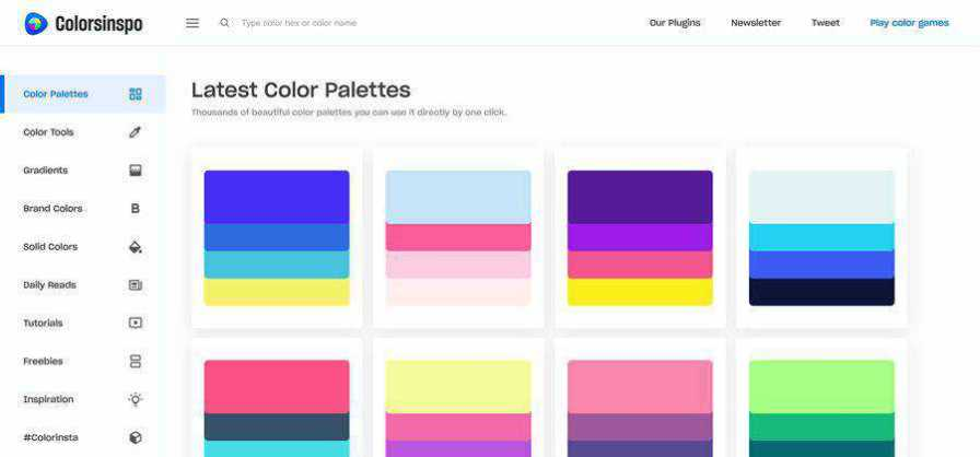 Colorsinspo color palettes web-based tool free web design example