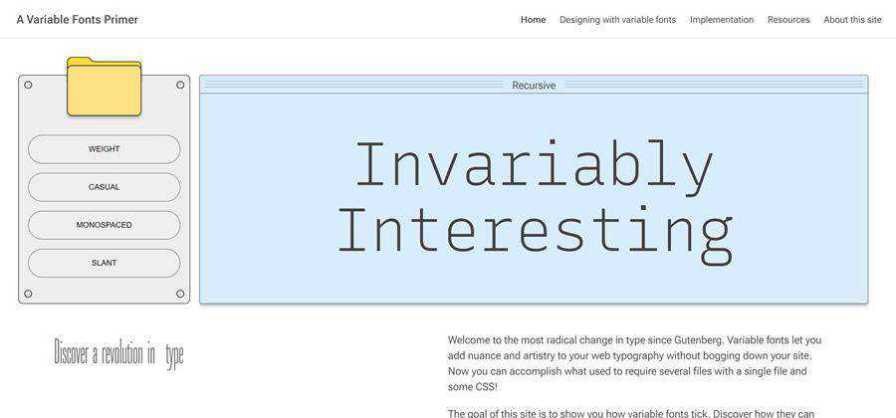 A Variable Fonts Primer web-based tool free web design example