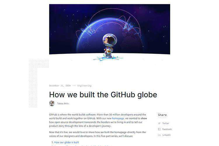 Example from How we built the GitHub globe
