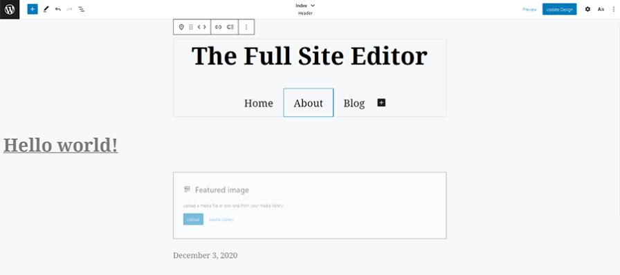 Editing a website template inside WordPress.