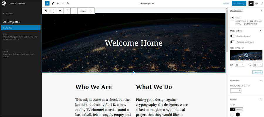 Creating a Home Page tempalte in the WordPress full site editor.