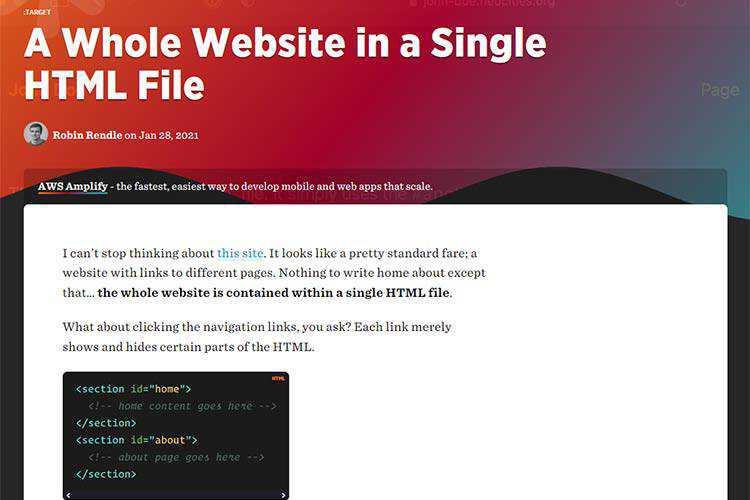 Example from A Whole Website in a Single HTML File