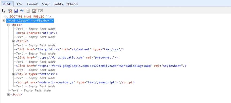 Internet Explorer Developer Tools displays no support for CSS Flexbox.