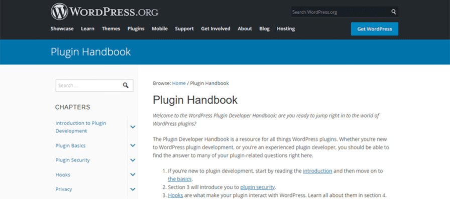 The WordPress Plugin Handbook home page.