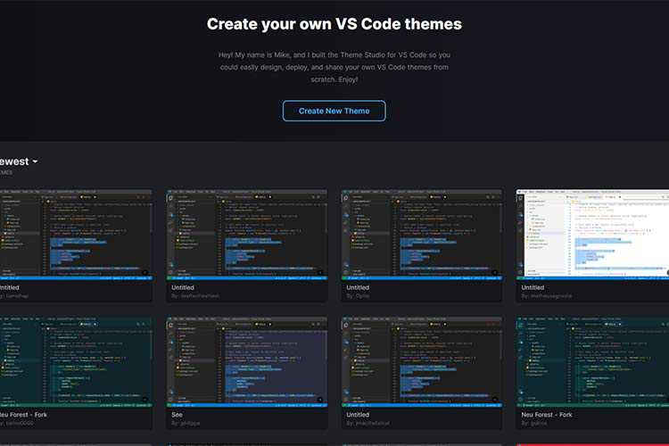 Example from Theme Studio for VS Code