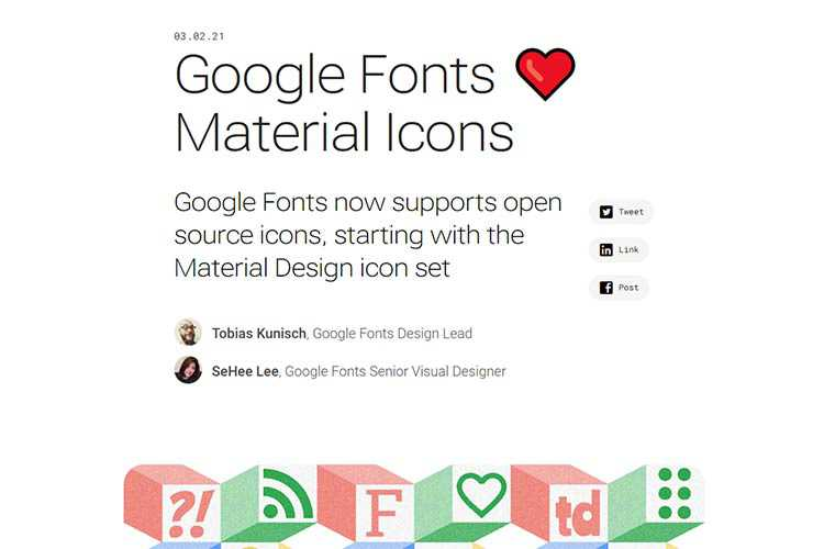 Example from Google Fonts Loves Material Icons