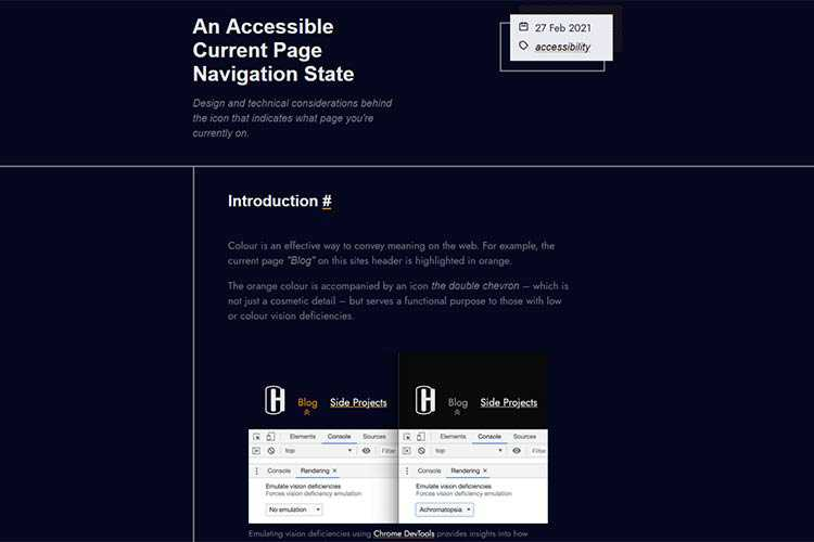 Example from An Accessible Current Page Navigation State
