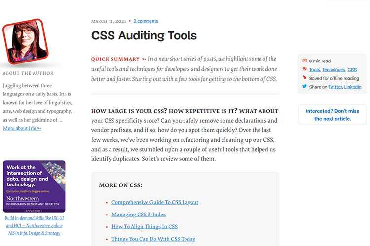 Example from CSS Auditing Tools