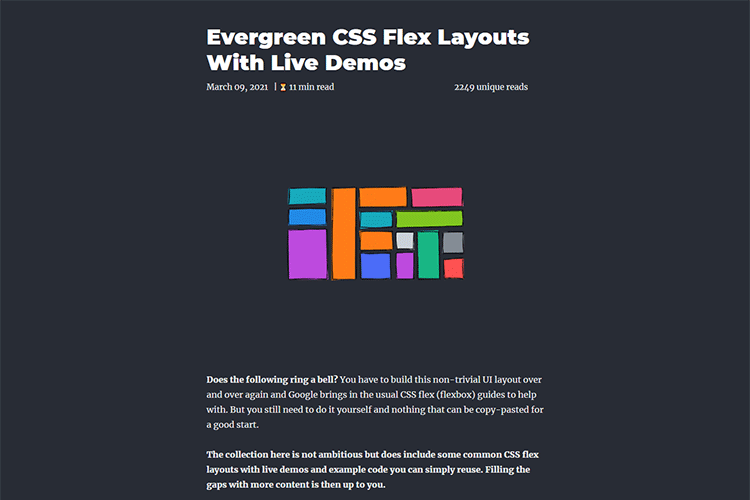 Example from Evergreen CSS Flex Layouts With Live Demos