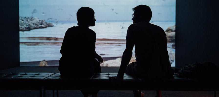 Two people having a conversation.